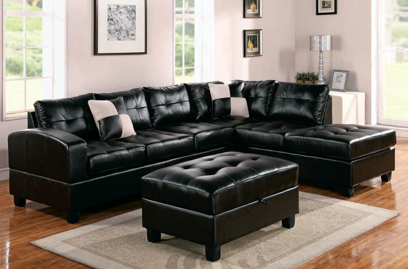 Sectional Sofa Deals | Homesfeed Inside Black Leather Sectionals With Ottoman (Image 7 of 10)
