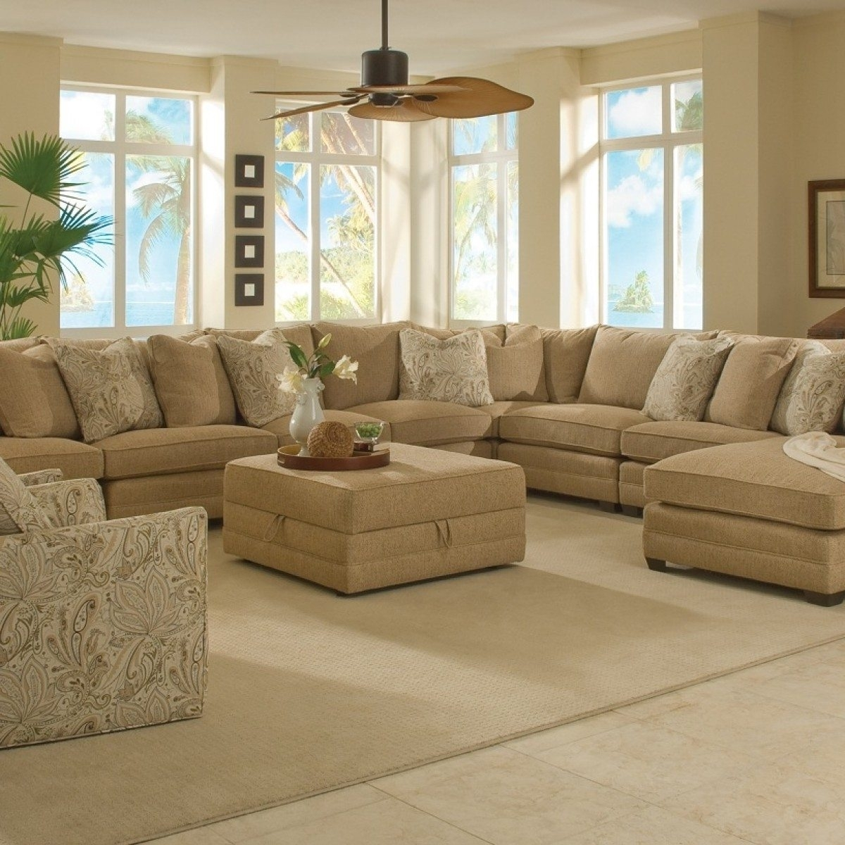 Sectional Sofa Design: Large Sofa Sectionals Chaise Bed Extra In Sectionals With Oversized Ottoman (Image 6 of 10)