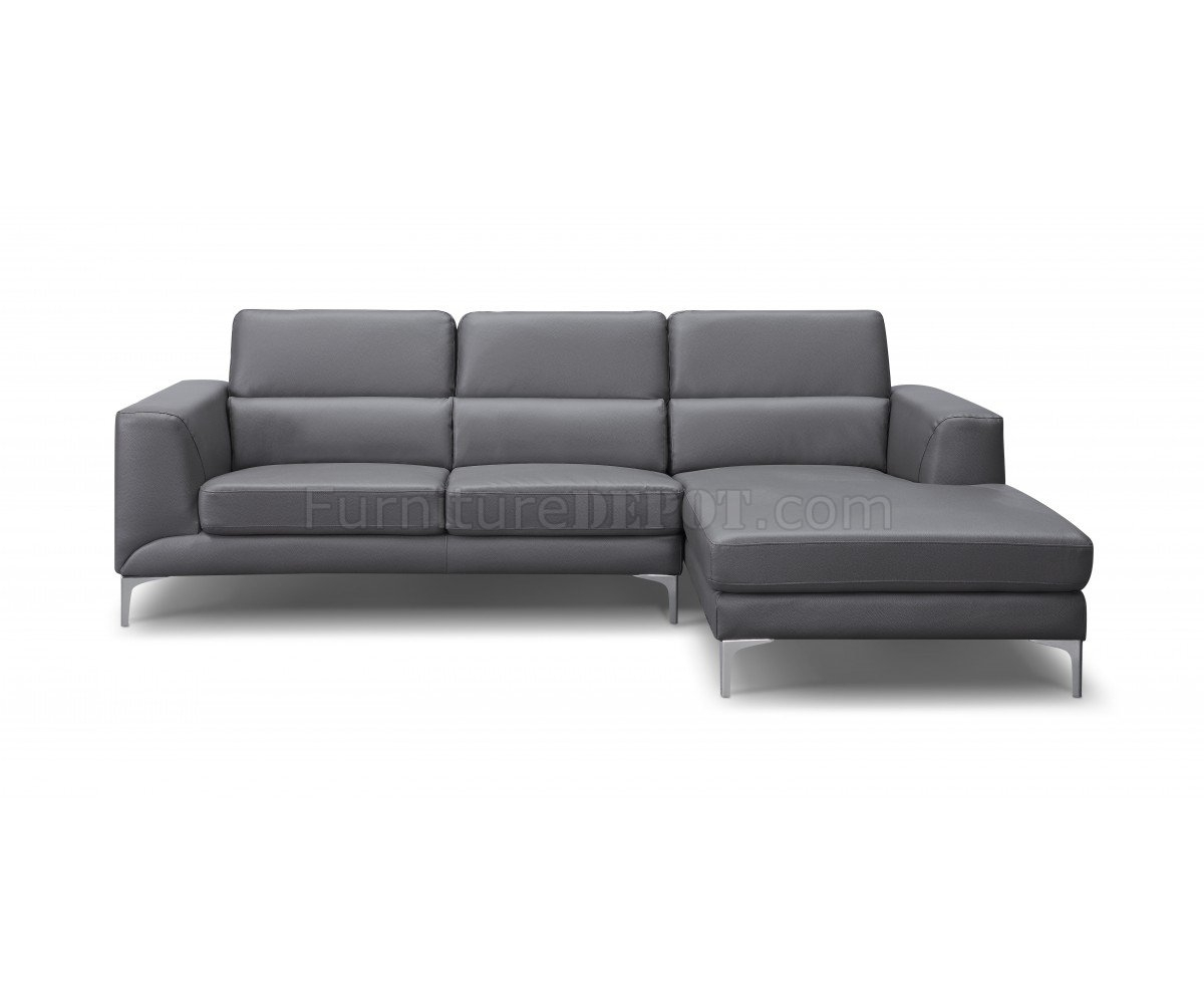 Sectional Sofa In Gray Faux Leatherwhiteline For Sydney Sectional Sofas (Image 3 of 10)