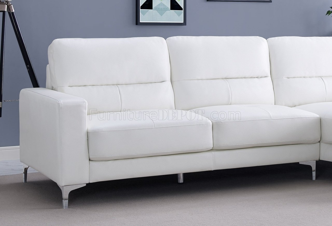 Sectional Sofa In White Bonded Leatherwhiteline With Regard To Memphis Sectional Sofas (View 10 of 10)