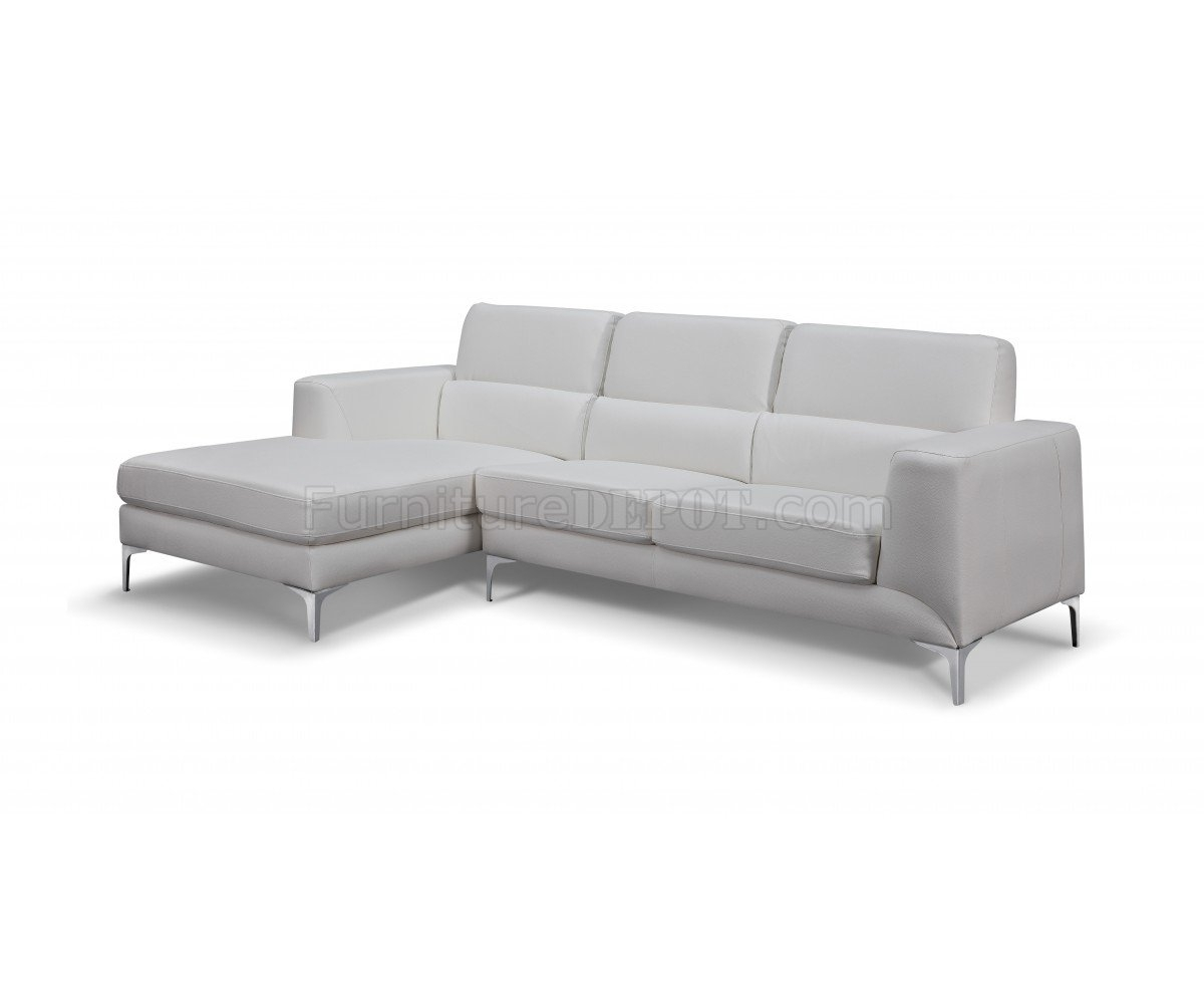 Sectional Sofa In White Faux Leatherwhiteline With Regard To Sydney Sectional Sofas (Image 4 of 10)