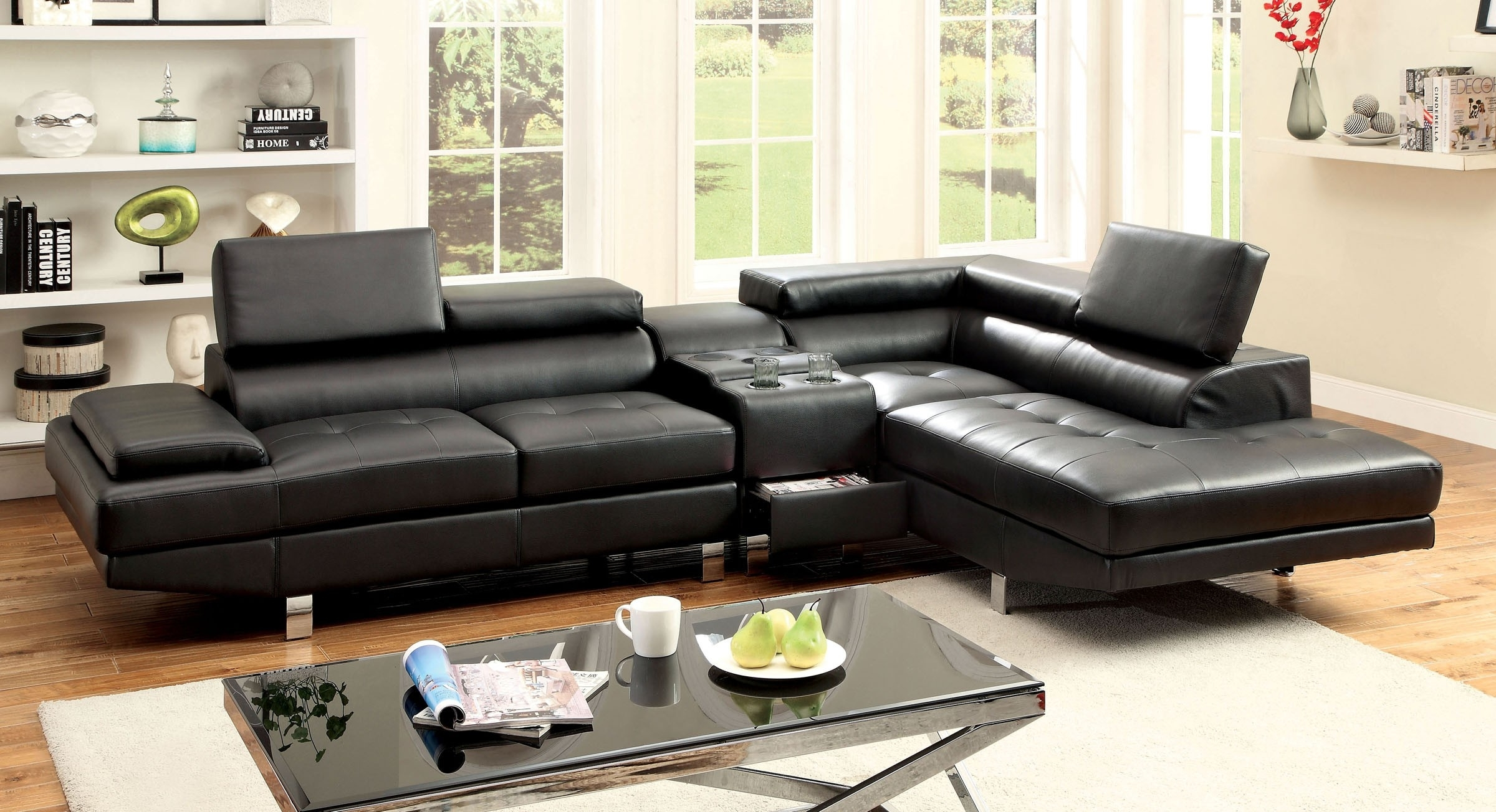 Sectional Sofa W/ Speaker Console (Cm6833Bk ) | Bb's Furniture Store Intended For Sectional Sofas With Consoles (Image 8 of 10)