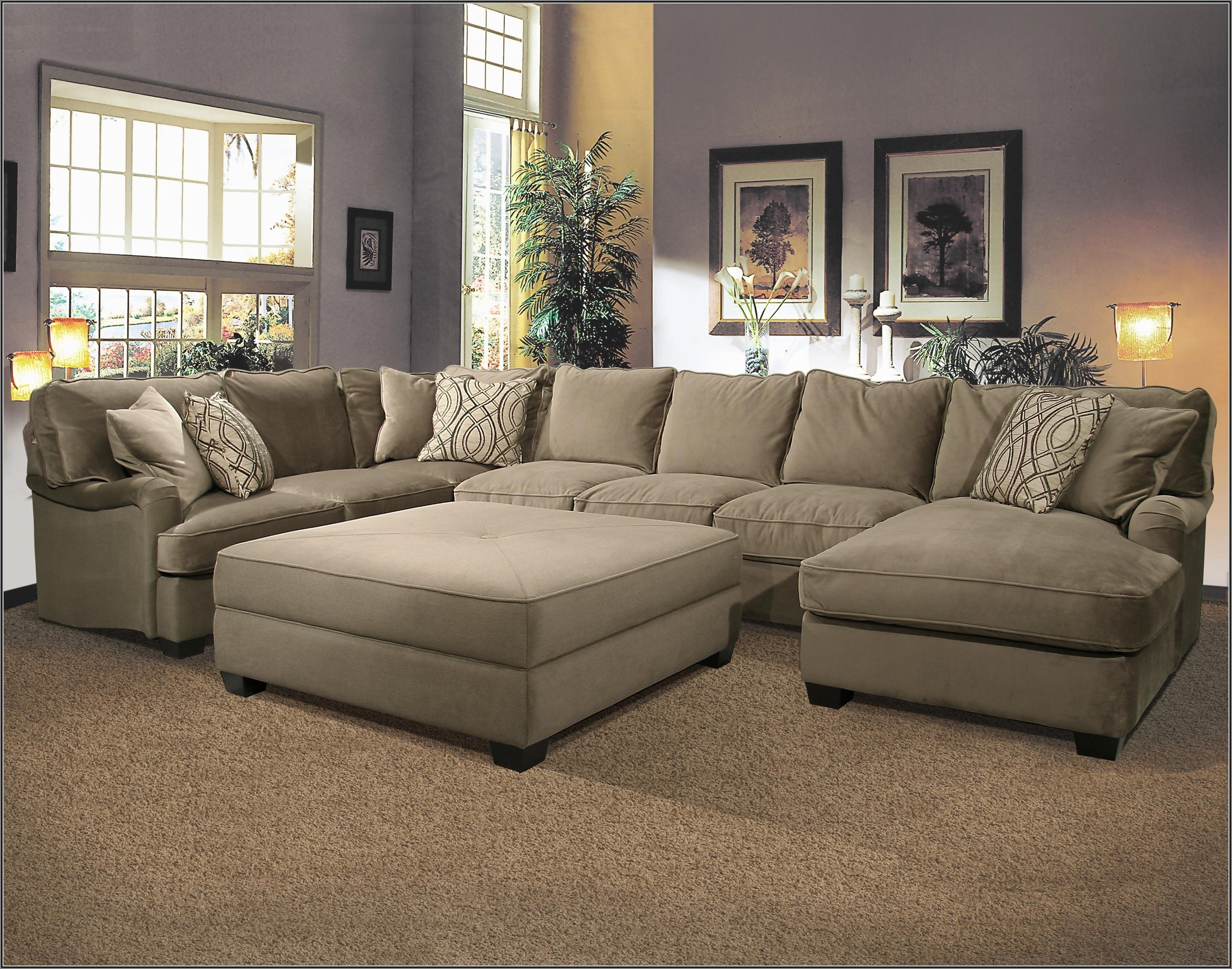 Sectional Sofa With Large Ottoman Hotelsbacau Com Intended For Inside U Shaped Sectionals Image