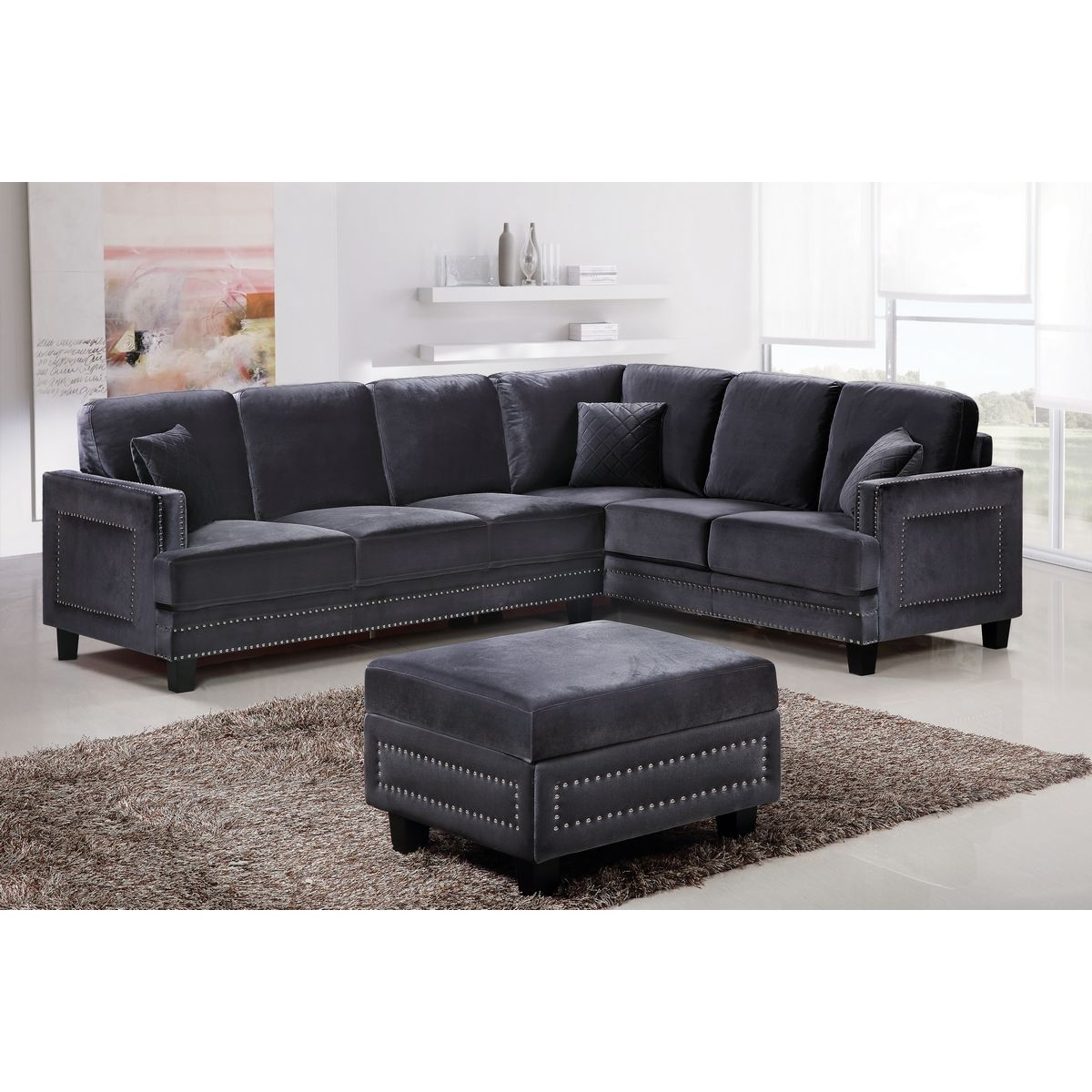Sectional Sofa With Nailhead Trim Meridian Furniture 655Gry Ferrara Throughout Sectional Sofas With Nailheads (Image 6 of 10)