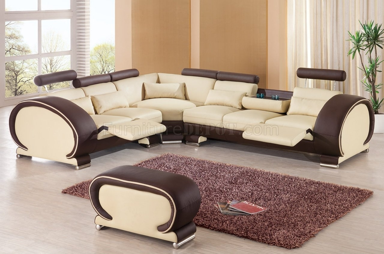 Sectional Sofaesf In Beige & Brown Leather With Regard To New Orleans Sectional Sofas (View 2 of 10)