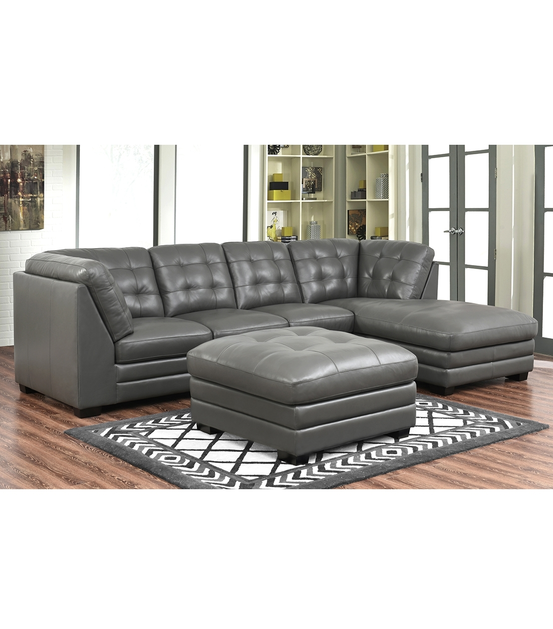 Sectionals : Lawrence Top Grain Leather Sectional With Ottoman With Leather Sectionals With Ottoman (View 10 of 10)