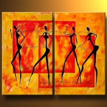 Sensual Dance Canvas Abstract Oil Painting Wall Art With Stretched Pertaining To Dance Canvas Wall Art (View 15 of 15)