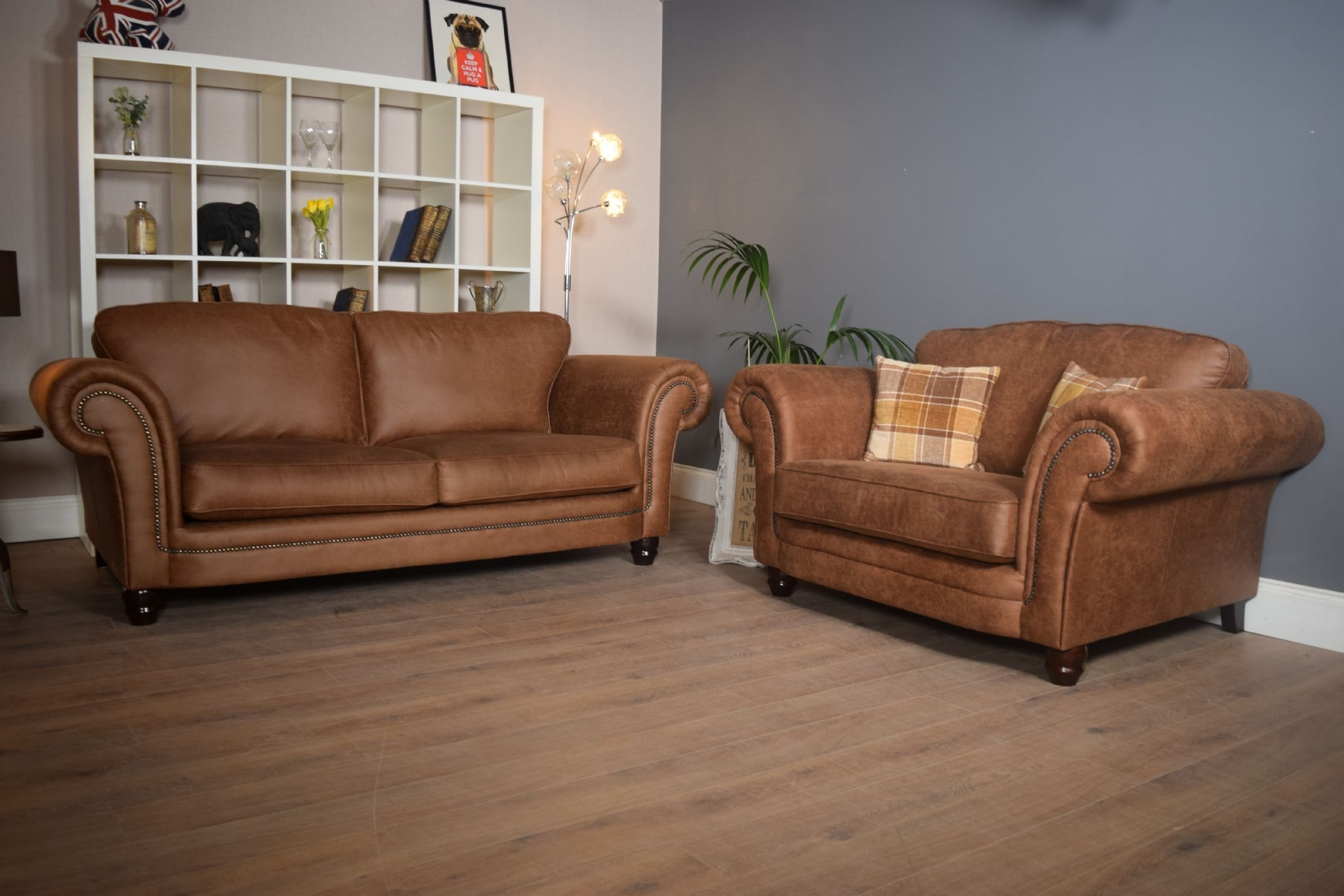 Set Abbey Downton 3 Seater Sofa & Large Cuddle Chair – Tan Fitted Regarding 3 Seater Sofas And Cuddle Chairs (View 4 of 10)