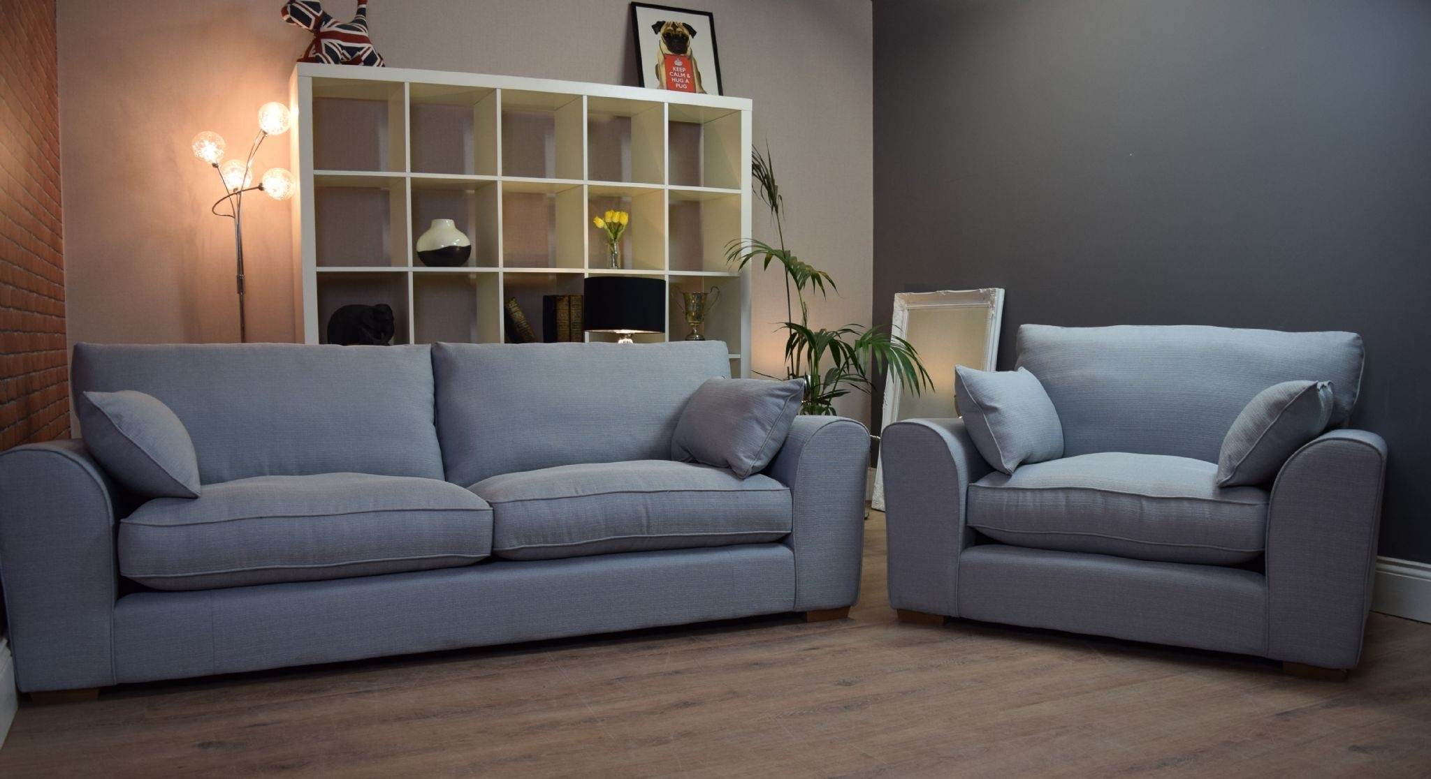 Set New Ashdown 3 Seater Sofa & Cuddle Chair Set – Duck Egg Blue With Regard To 3 Seater Sofas And Cuddle Chairs (View 6 of 10)