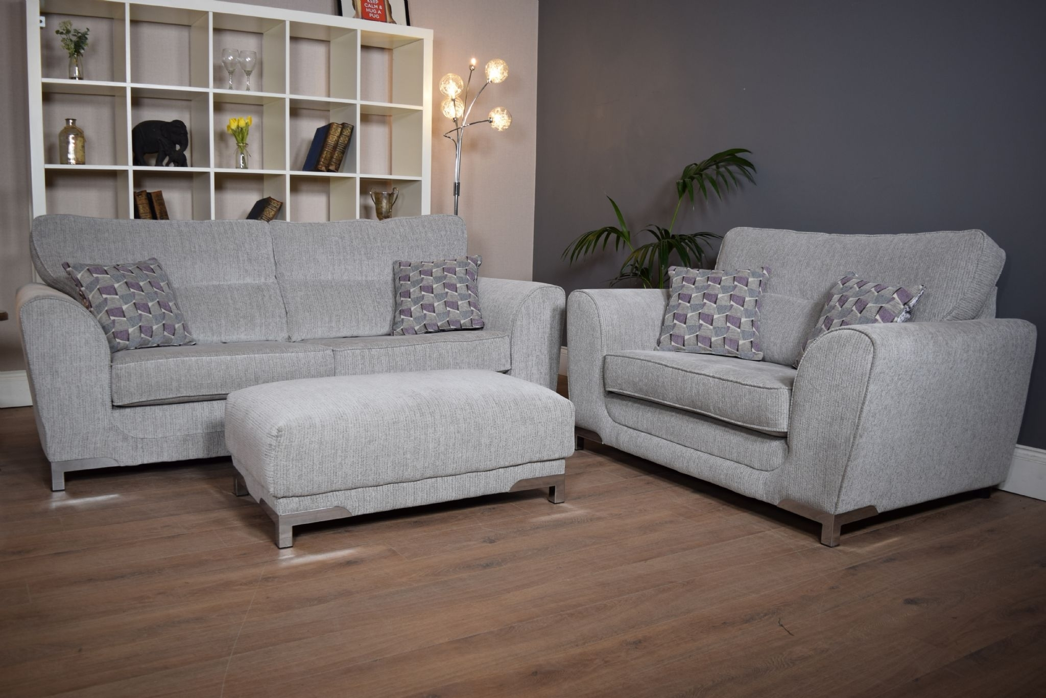 Set Nikki 3 Seater Sofa Cuddle Chair & Footstool Suite Set – Light Inside 3 Seater Sofas And Cuddle Chairs (View 8 of 10)