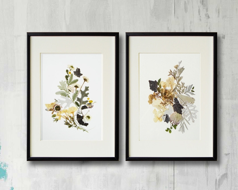 Set Of 2 Framed Prints Plant Art Contemporary Art Dry Flower Decor Intended For Framed Botanical Art Prints (Image 10 of 15)