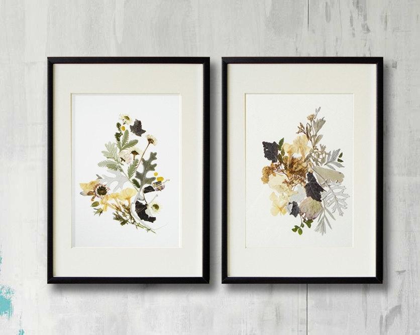 Set Of 2 Framed Prints Plant Art Contemporary Art Dry Flower Decor Intended For Framed Botanical Art Prints (View 15 of 15)