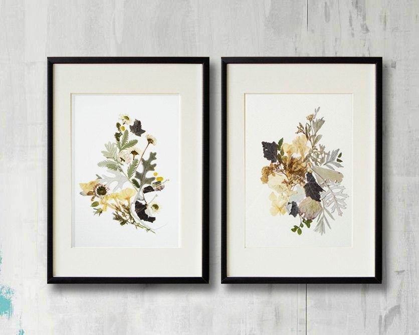 Set Of 2 Framed Prints Plant Art Contemporary Art Dry Flower Decor Throughout Framed Art Prints Sets (Image 11 of 15)