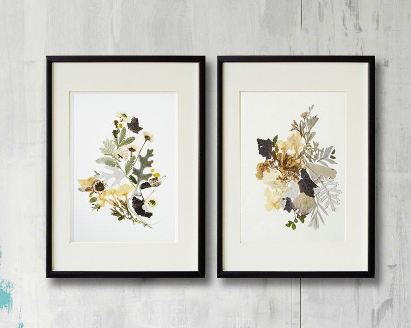 Set Of 2 Framed Prints Plant Art Contemporary Art Dry Flower Decor With Regard To Flowers Framed Art Prints (View 2 of 15)