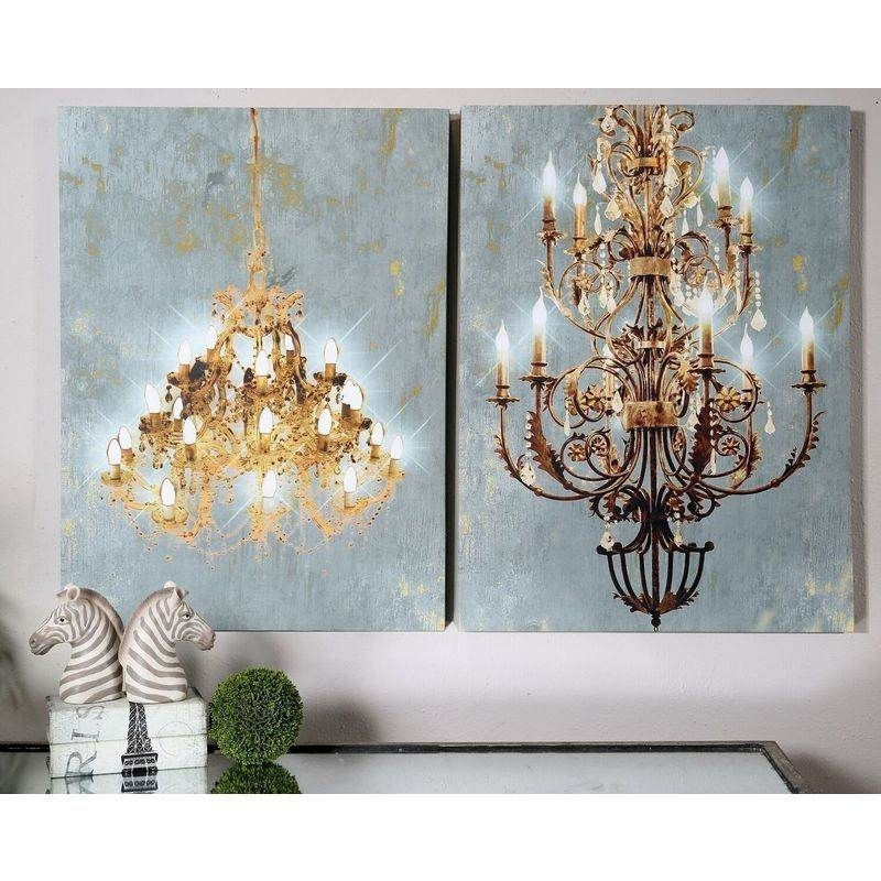 Set Of 2 Led Light Up Chandelier Canvas Wall Art | Buy Wall Art Throughout Chandelier Canvas Wall Art (Image 9 of 15)