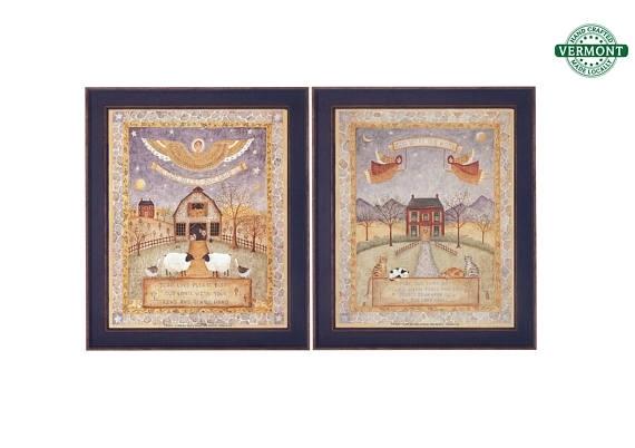 Set Of 2 Vintage Framed Folk Art Prints God Bless Our Home with regard to Framed Folk Art Prints