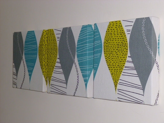 Set Of 3 Contemporary Modern Designer Retro Print Design Teal Throughout Modern Fabric Wall Art (Image 11 of 15)