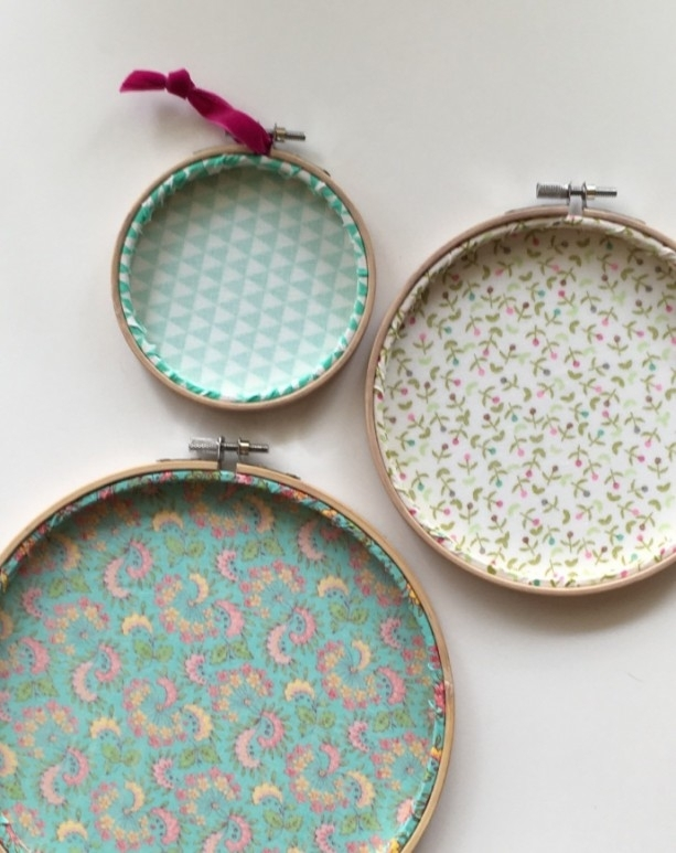 Set Of 3 Embroidery Hoop Art | Aftcra With Regard To Fabric Hoop Wall Art (View 10 of 15)