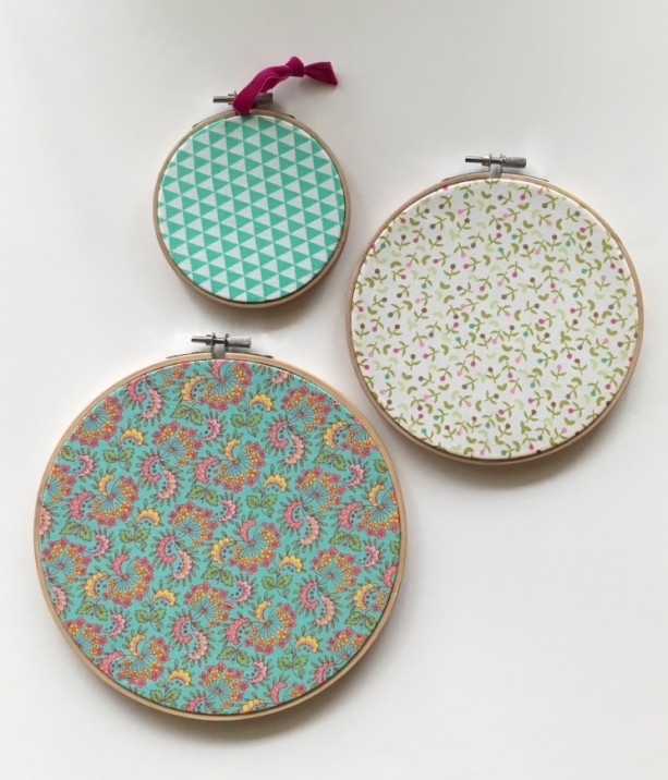 Set Of 3 Embroidery Hoop Art | Aftcra Within Fabric Hoop Wall Art (View 8 of 15)