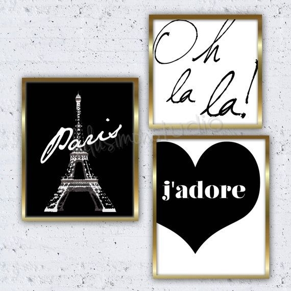 Set Of 3 Paris Prints Paris Decor Wall Decorlulusimonstudio Intended For Vintage Bath Framed Art Prints Set Of (View 7 of 15)