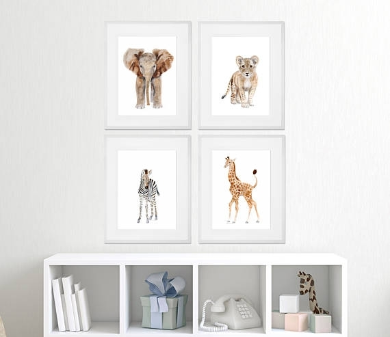 Set Of 4 Framed Nursery Art Baby Animal Prints Safari Within Framed Animal Art Prints (View 8 of 15)