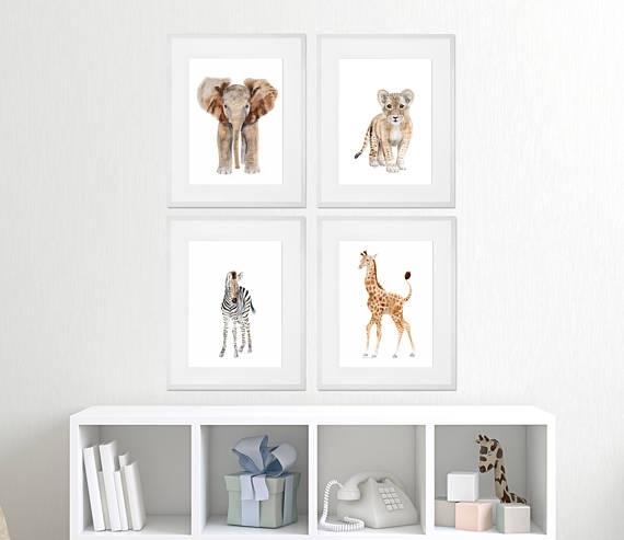 Set Of 4 Framed Nursery Art Baby Animal Prints Safari Within Framed Animal Art Prints (Image 13 of 15)