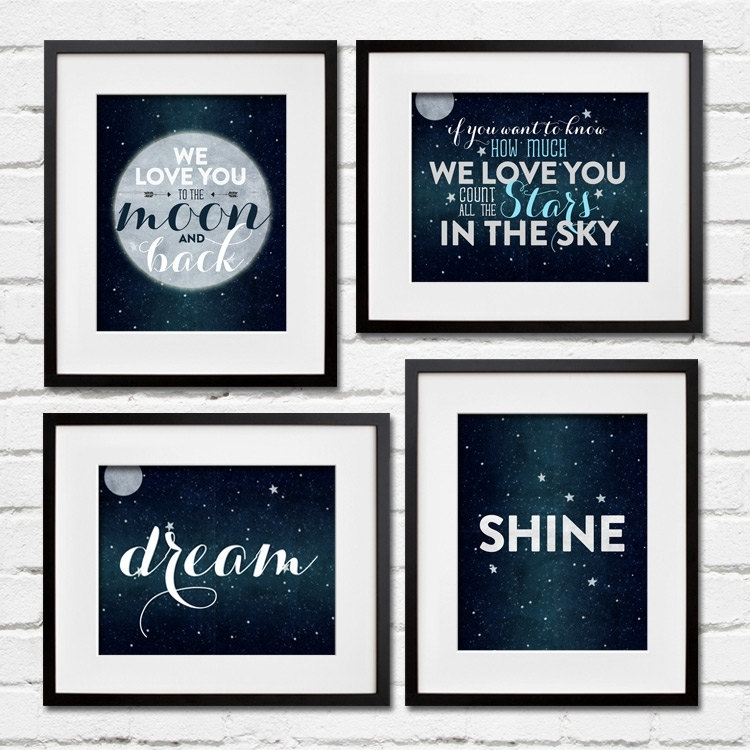 Set Of 4 Stars And Moon Wall Art – Dream, Shine Project Cottage Regarding Navy Canvas Wall Art (View 8 of 15)
