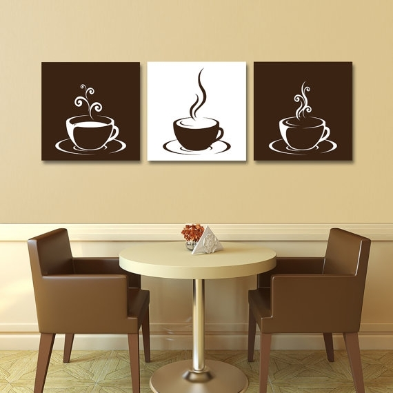 Set Of Three (3) Gallery Wrapped Canvases – Coffee Cup Design With Coffee Canvas Wall Art (Image 13 of 15)