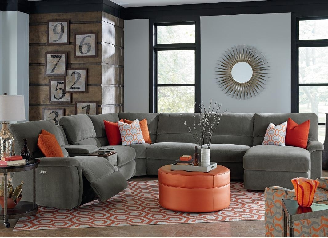 Seven Piece Power Reclining Sectional Sofa With Cupholdersla Z Within Sectional Sofas With Power Recliners (Image 8 of 10)