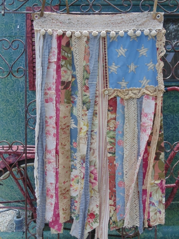 Shabby Chic American Flag Country Cottage Distressed Vintage Lace Throughout American Flag Fabric Wall Art (Image 12 of 15)