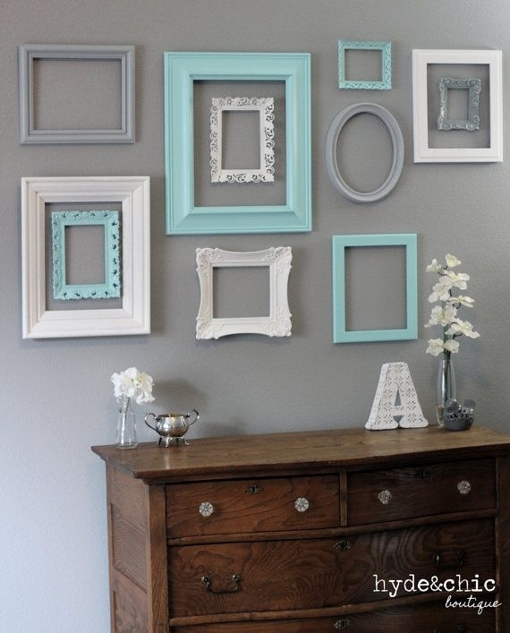 Shabby Chic Decor / 10 Piece Upcycled Distressed Custom Picture For Frames Wall Accents (View 6 of 15)