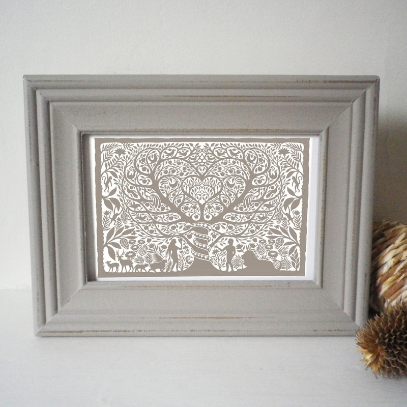 Shabby Chic Grey Painted Frame With Folk Art Print – Glyn West Design For Shabby Chic Framed Art Prints (Image 13 of 15)