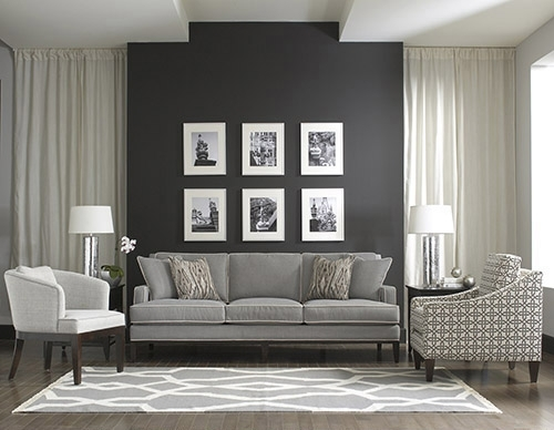 Shades Of Grey Accent Walls Grey Manteo Furniture Throughout Gray Wall Accents (Image 13 of 15)