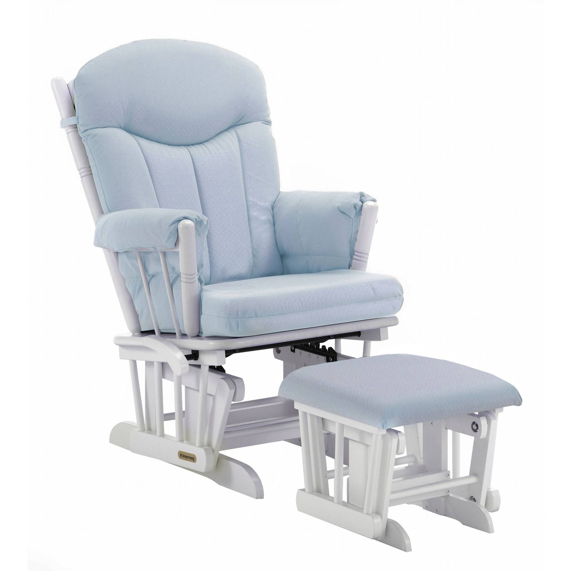 Shermag Combo Glider/ottoman, White/pickwick Light Blue – Walmart In Gliders With Ottoman (View 8 of 10)