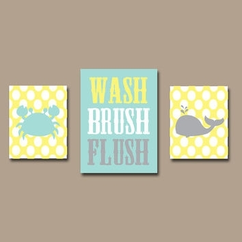 Shop Gray And Yellow Bathroom Wall Art On Wanelo With Regard To Bathroom Canvas Wall Art (Image 13 of 15)