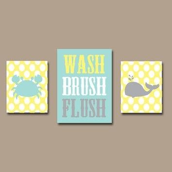 Shop Gray And Yellow Bathroom Wall Art On Wanelo With Regard To Bathroom Canvas Wall Art (View 9 of 15)