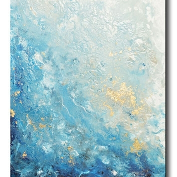 Shop Large Abstract Ocean Canvas Art On Wanelo With Regard To Abstract Ocean Wall Art (View 14 of 15)