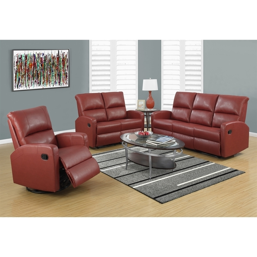 Shop Monarch Specialties Casual Red Faux Leather Sectional At Lowes Throughout Red Faux Leather Sectionals (Image 8 of 10)