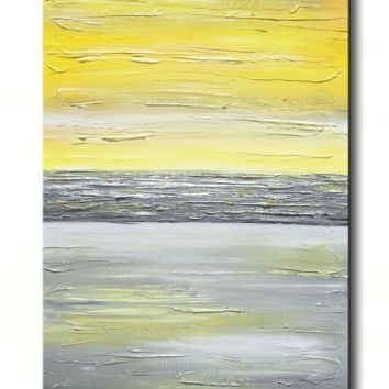 Shop Vertical Painting On Wanelo With Regard To Yellow And Grey Abstract Wall Art (View 10 of 15)