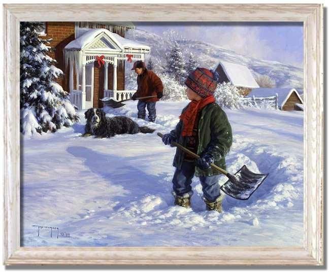 Shoveling Out Snow Scenerobert Duncan – Framed Art Print At Regarding Robert Duncan Framed Art Prints (Image 13 of 15)