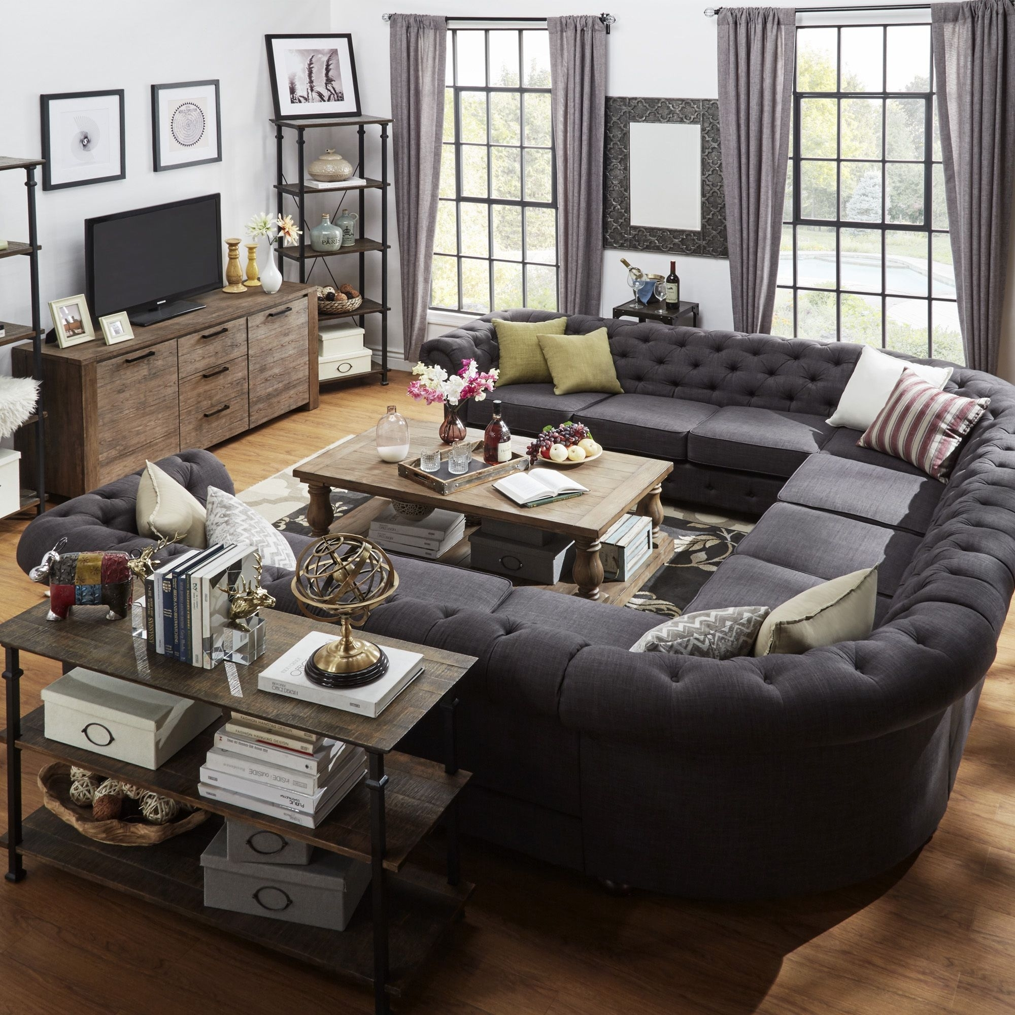 Signal Hills Knightsbridge Tufted Scroll Arm Chesterfield 11 Seat U For Gray U Shaped Sectionals (View 6 of 10)
