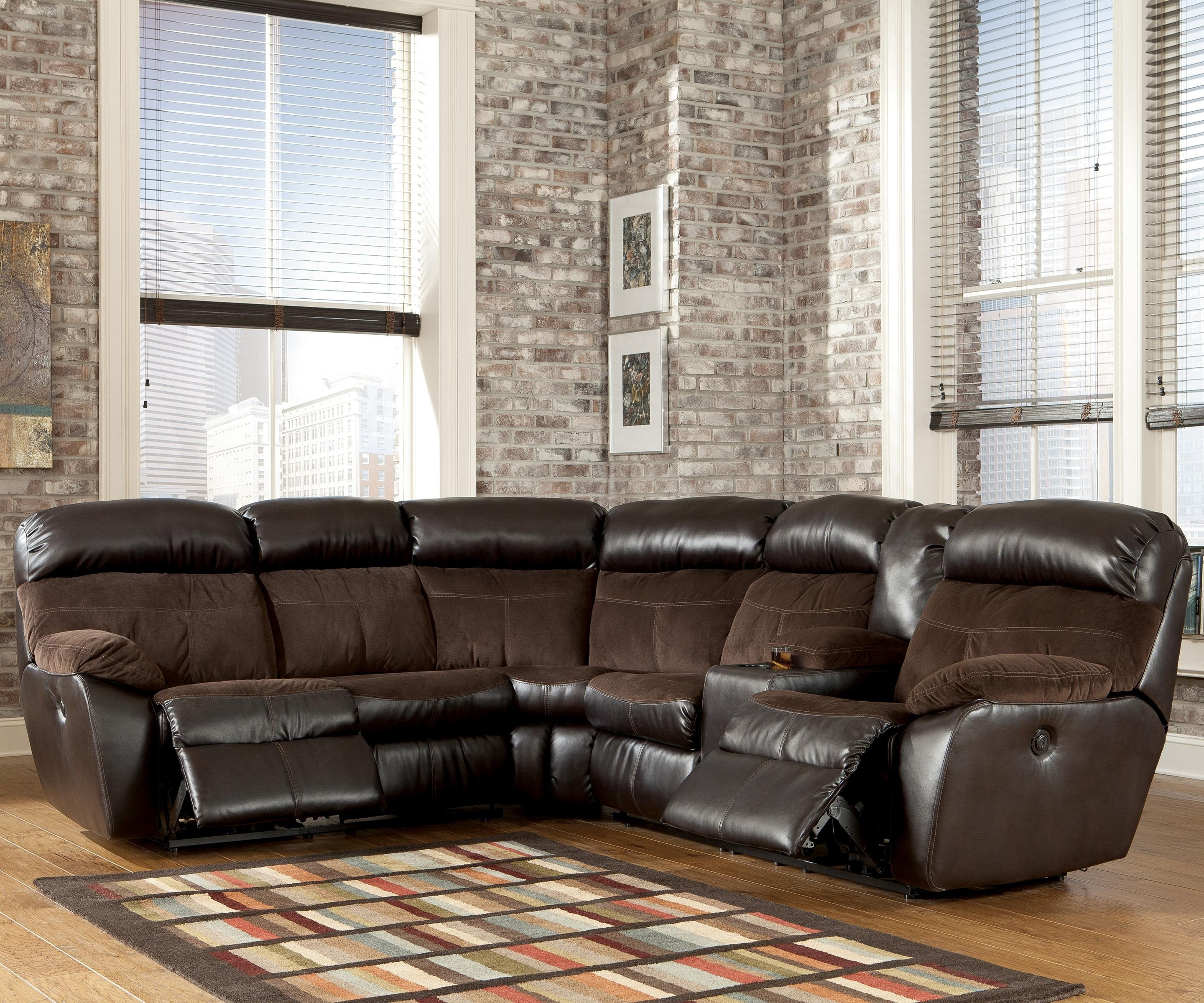Signature Designashley Berneen – Coffee Reclining Sectional Sofa Inside Killeen Tx Sectional Sofas (View 2 of 10)