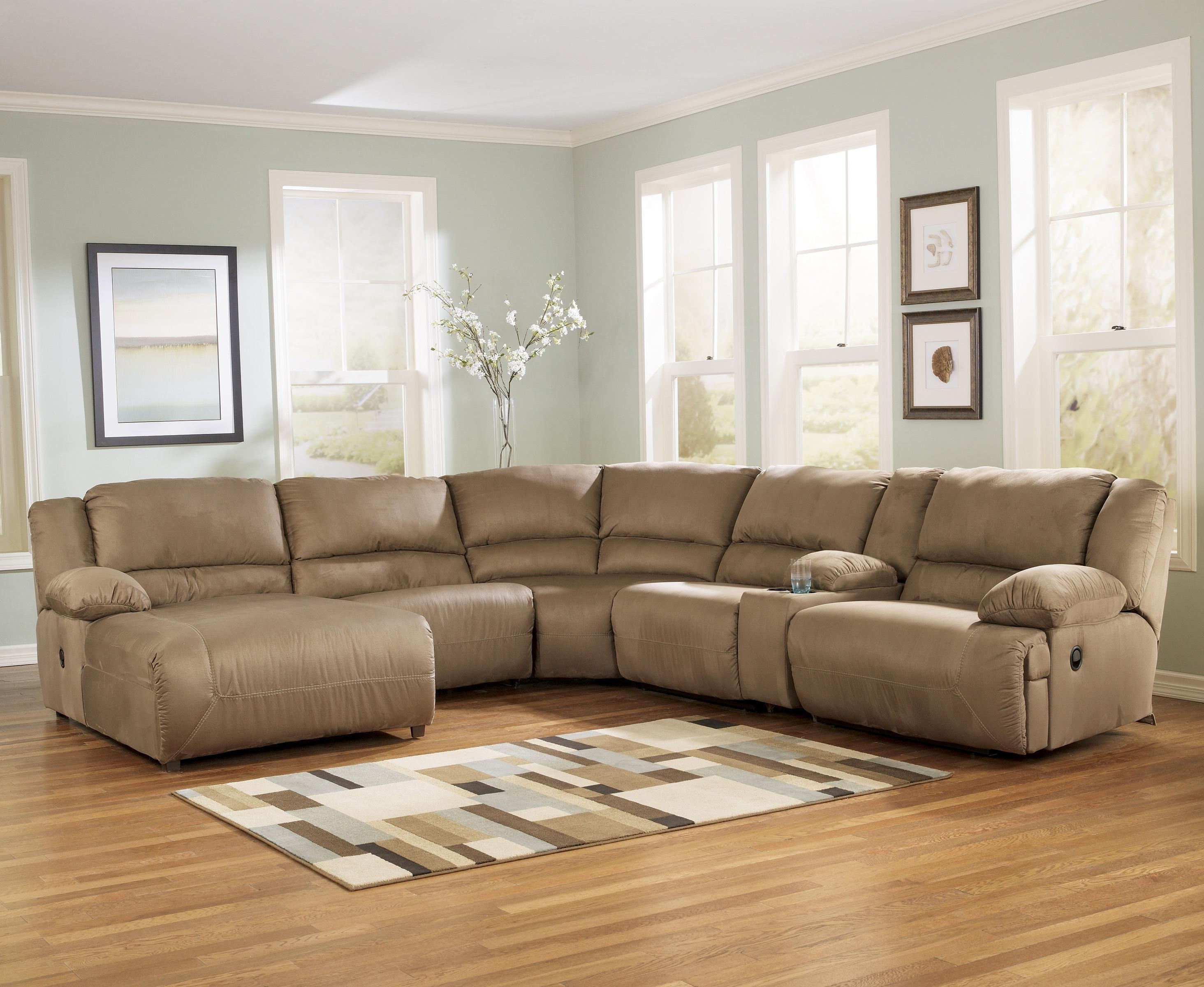 Signature Designashley Hogan – Mocha 6 Piece Motion Sectional In El Paso Tx Sectional Sofas (Image 10 of 10)