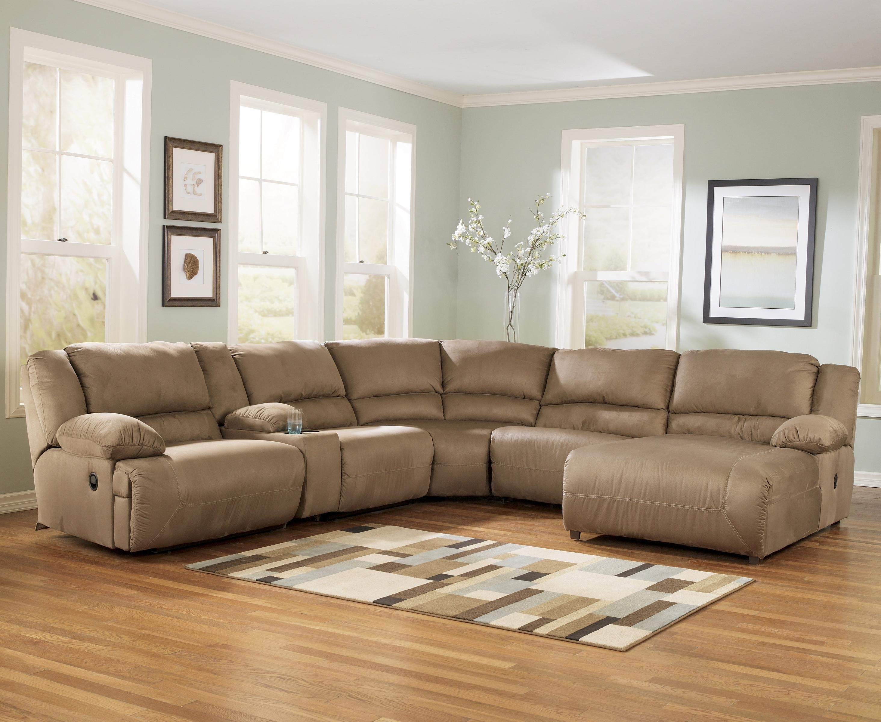 Signature Designashley Hogan – Mocha 6 Piece Motion Sectional Pertaining To Home Furniture Sectional Sofas (View 7 of 10)