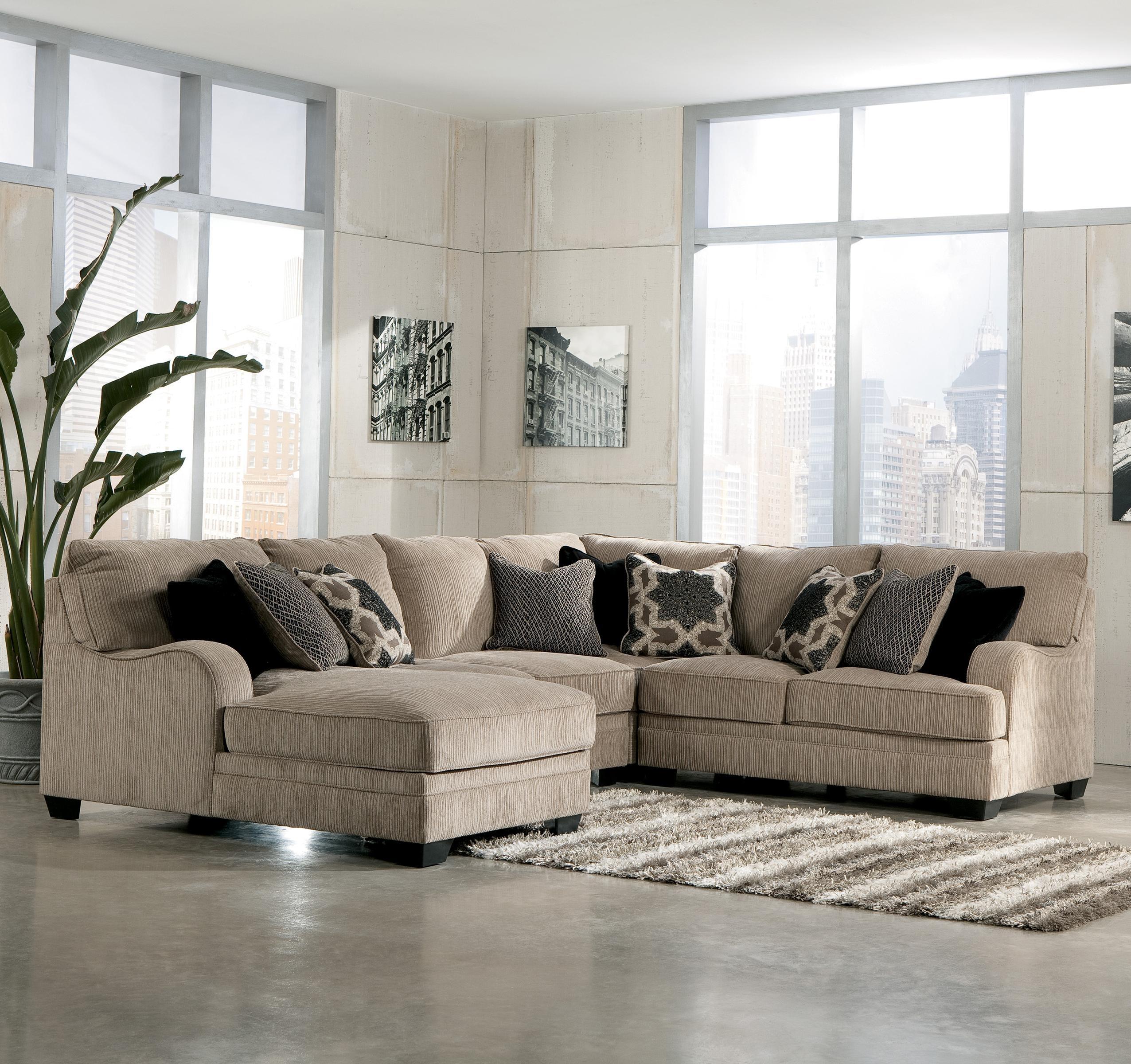 Signature Designashley Katisha – Platinum 4 Piece Sectional Sofa Pertaining To Peterborough Ontario Sectional Sofas (Image 9 of 10)