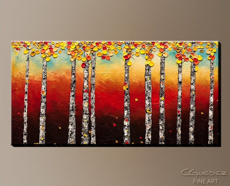 Signed Fine Art Canvas Prints And Posters Of Contemporary Abstract With Birch Trees Canvas Wall Art (View 9 of 15)