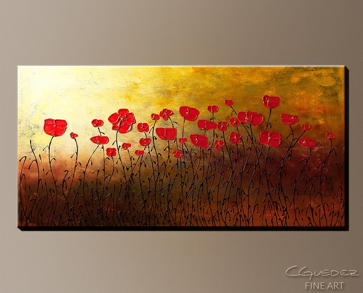 Signed Fine Art Canvas Prints And Posters Of Contemporary Abstract With Red Flowers Canvas Wall Art (Image 12 of 15)