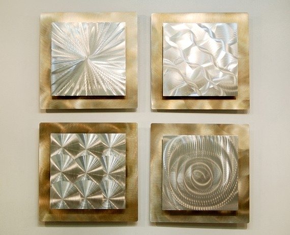 Silver & Gold Modern Metal Wall Sculpture – Contemporary Metal With Gold Wall Accents (View 3 of 15)