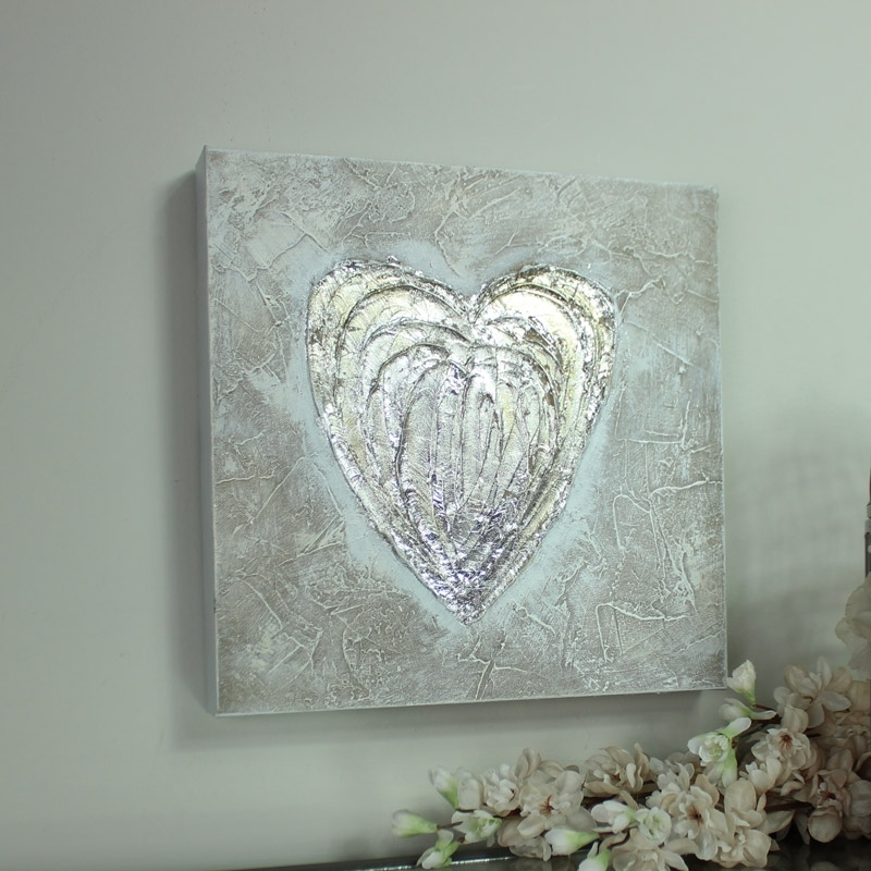 Silver Love Heart Canvas Wall Art – Melody Maison® For Hearts Canvas Wall Art (Image 12 of 15)