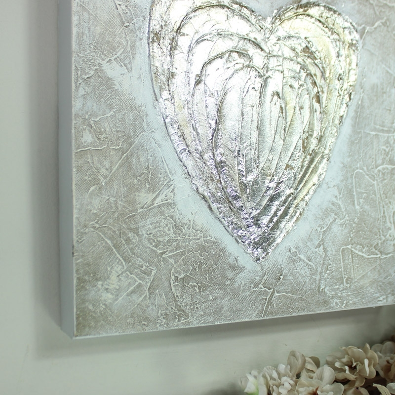 Silver Love Heart Canvas Wall Art – Melody Maison® Within Hearts Canvas Wall Art (Image 13 of 15)